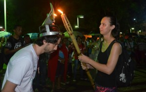 Mística do ENPJ  presente durante a Romaria (Foto: Larissa Oliveira).